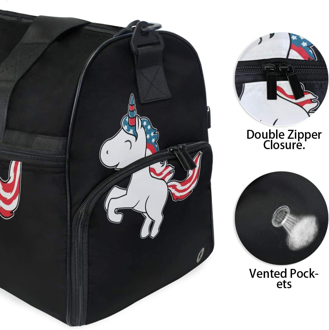 Americon Unicorn American Sports Gym Bag with Shoes Compartment Travel Duffel Bag for Men Women