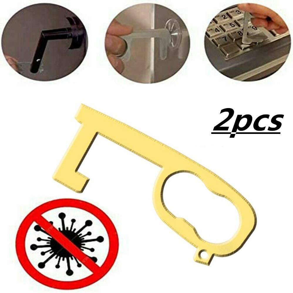 F/ünf Arten Messing-T/ür/öffner Ber/ührungsloser Aufzugsknopf Presswerkzeug Kontaktt/ürschl/üsself/örmiger Griffabzieher Vermeiden b FWSS EDC-T/ür/öffner