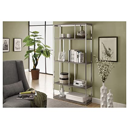 Monarch Reclaimed Look Chrome Metal Bookcase 72 Inch Dark Taupe