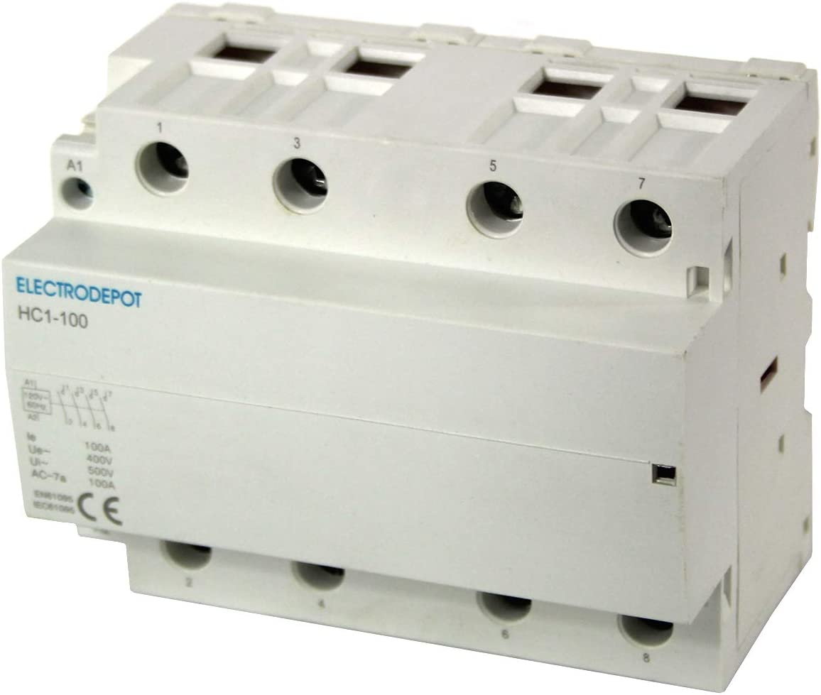 100 AMP LIGHTING CONTACTOR 4 Pole 120V Coil Normally Closed NC Silent DIN