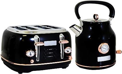 Charles Bentley 4 Fentes Acier Inoxydable Grille-pain W plateaux noir /& or rose