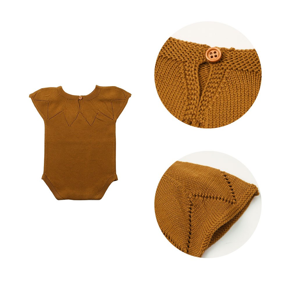 mimixiong Baby Knit Sling Romper Toddler Sleeveless Jumpsuit Spring Summer Sunsuit Clothes