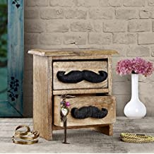 Stylist Small Wooden Chest of 2 Drawers with Moustache Knobs  Home / Kitchen / Office Keepsake Storage Organizer Decorative Furniture - 8.5 x 8 inches