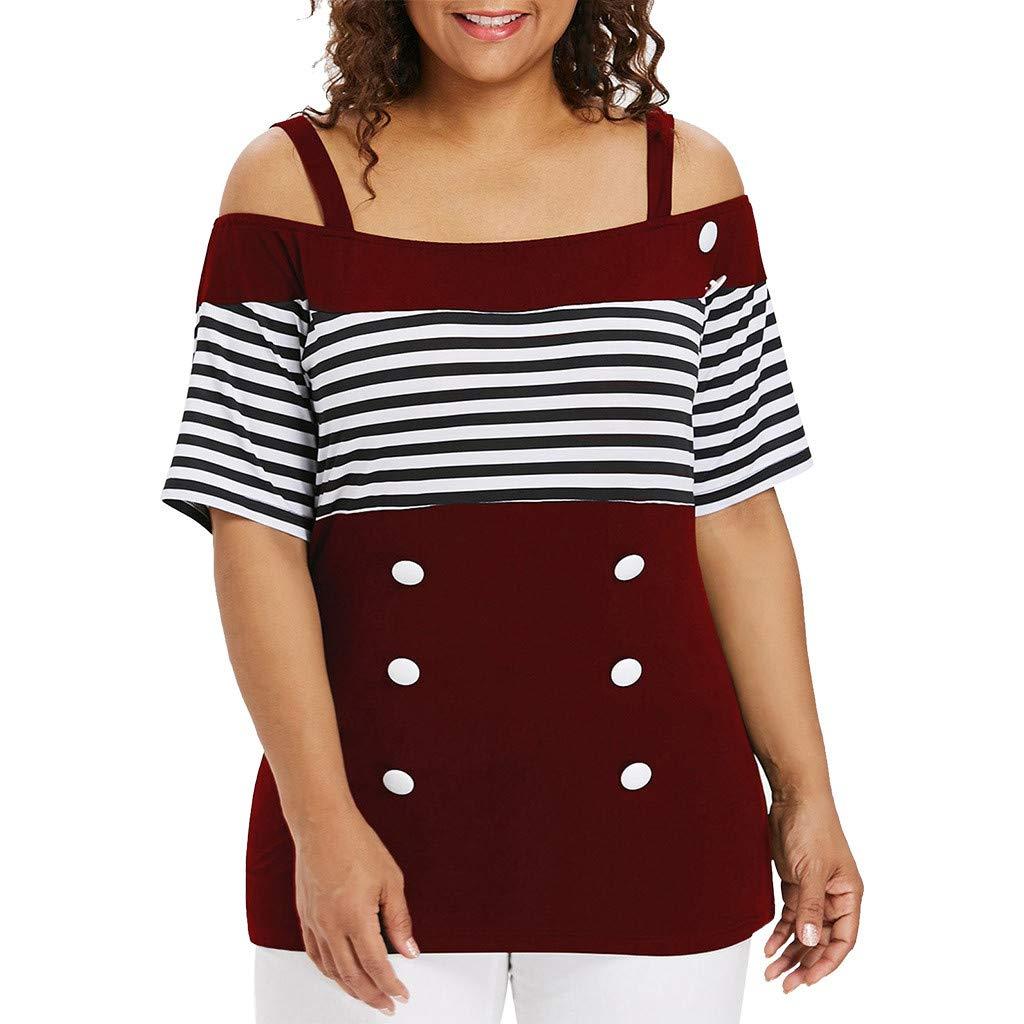 Tronet Summer Fashion Vest Tops Women Plus Size Off Shouder Stripe Short Sleeve Button T-Shirt Tops