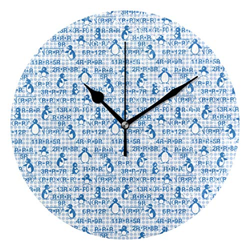 Penguin is Learning Mathematics Round Clock Non Ticking Excellent Accurate Sweep Movement Glass Cover Modern Decorative Kitchen Living Room Bathroom Bedroom -