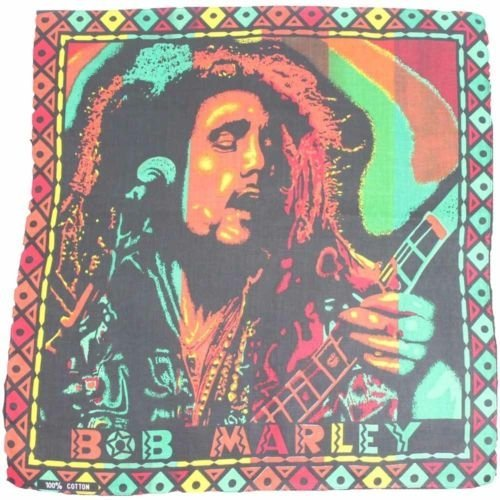 Bandana - Bob Marley Playing a Guitar Boarded Hemp Theme 100% Cotton 55x55cm (Bob Marley Bandana)
