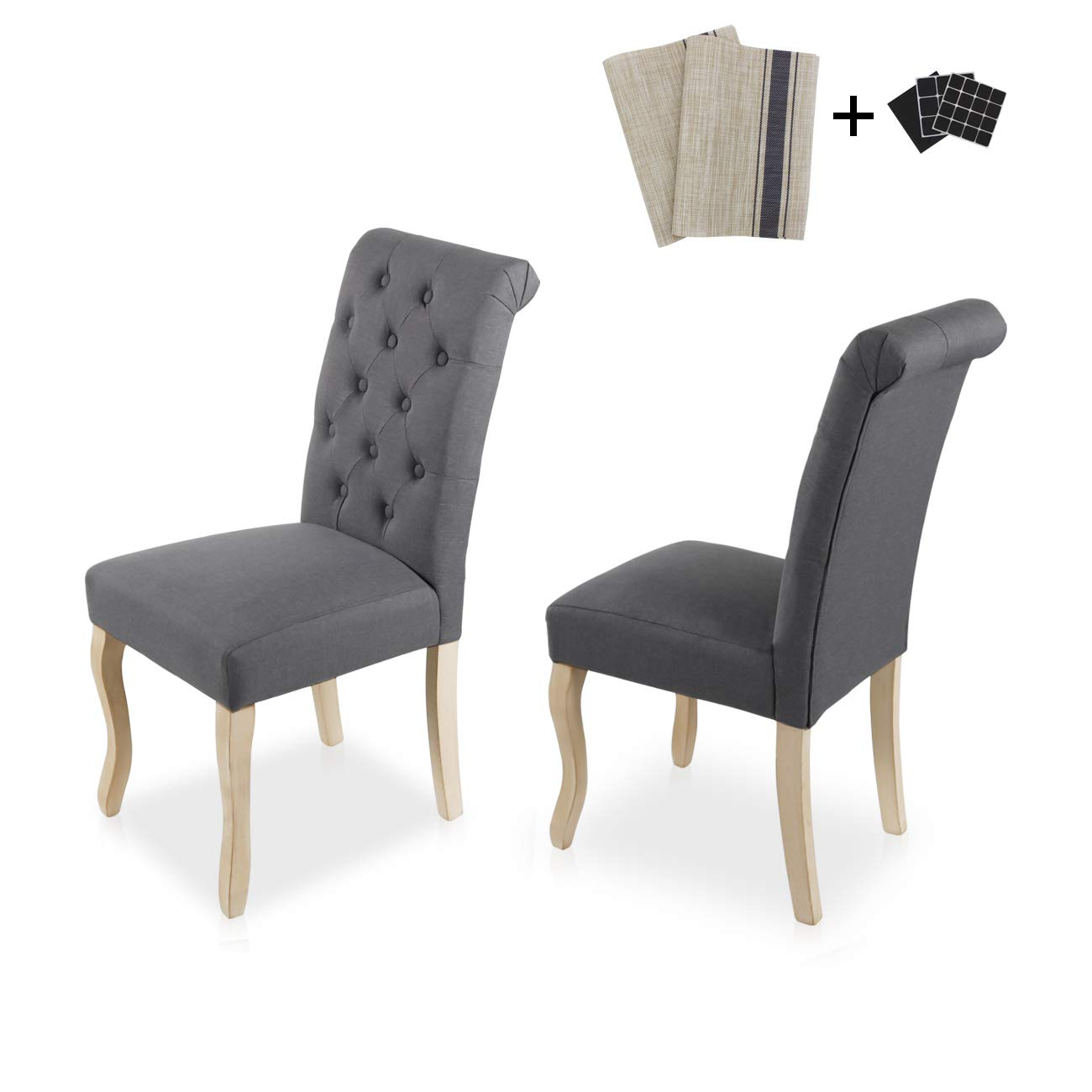 Amazon com aodailihb dining chairs set of 2 solid wood high back dining chair fabric padding oak legs classic durable grey chairs