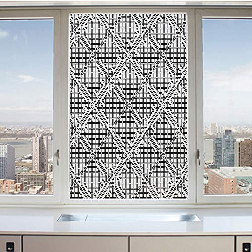 (3D Decorative Privacy Window Films,Medieval Irish Striped Binding Square Shaped Patterns Old Fashion Dated Artsy Grid Print,No-Glue Self Static Cling Glass film for Home Bedroom Bathroom Kitchen Offic)