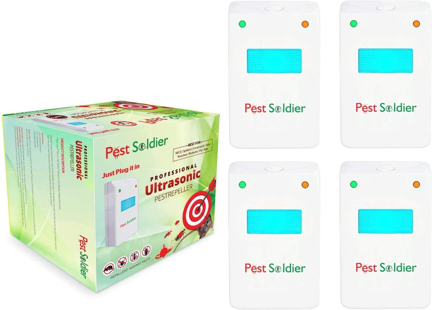 Pest Soldier Set of 4 Ultrasonic Pest Repeller Device Electronic Plug in Indoor - Repellent for Mice, Insects, Rats, Cockroaches, Spiders, Flies - Pest Control for Home, Office, Warehouse, Hotel