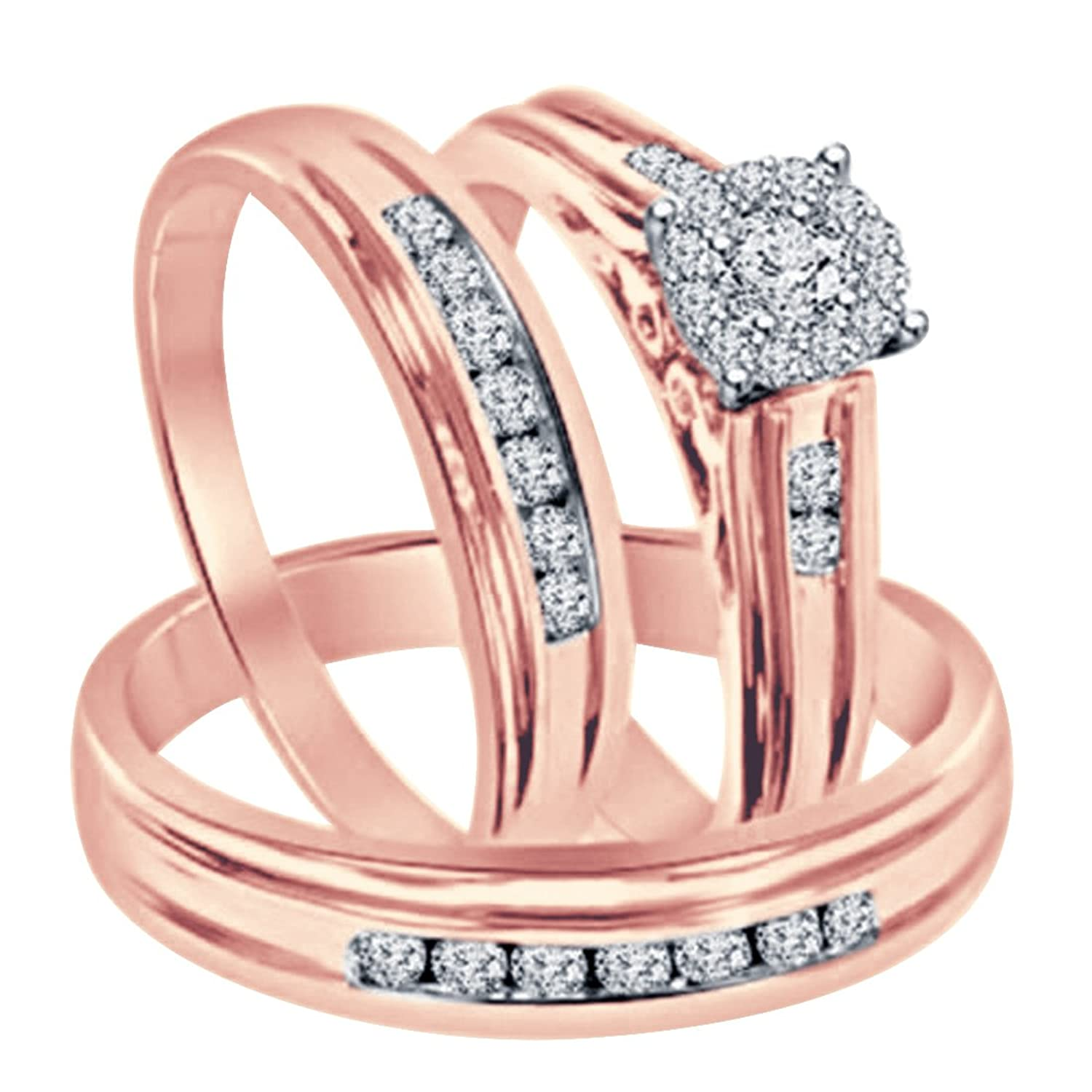 Amazon.com: Smjewels 1.30 Ct Diamond Engagement Ring Wedding Trio ...