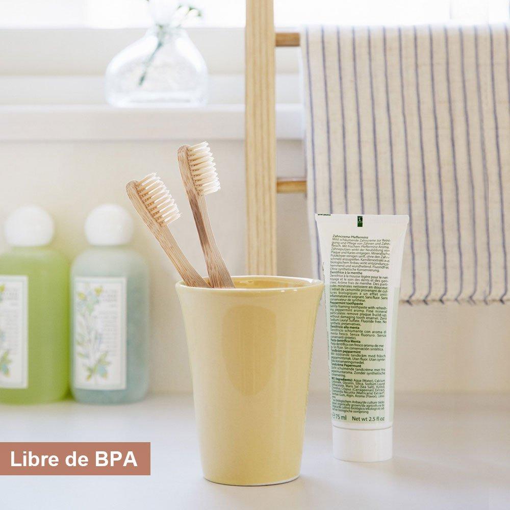 Lictin 6Pcs Cepillo de dientes madera de bambú Cuidado dental natural: Amazon.es: Bebé