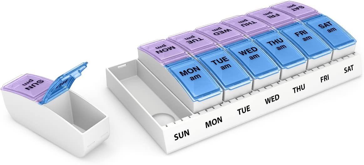 Ezy Dose Weekly AM/PM Travel Pill Organizer and Planner │ Removable AM/PM Compartments │ Great for Travel (Small): Health & Personal Care