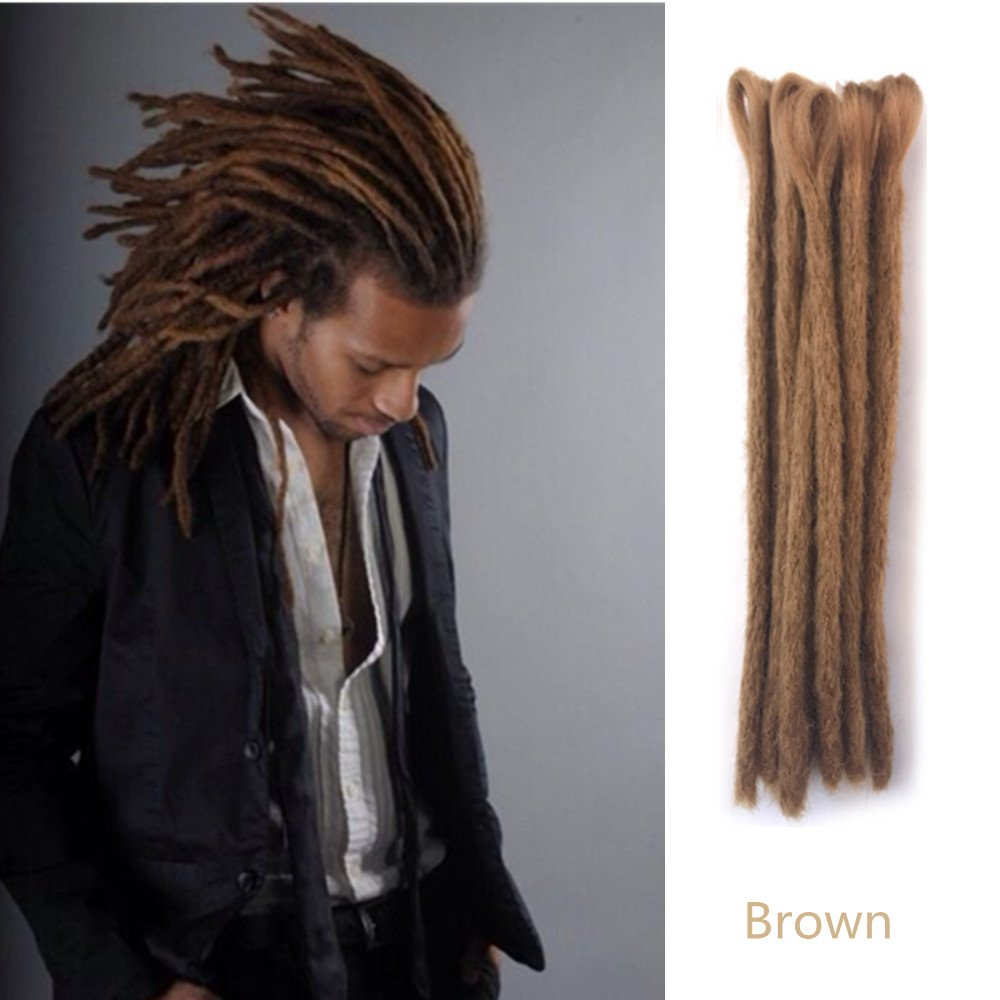 AOSOME Dreadlocks Hair Extensions, Synthetic 20 Inch 12 Strands Handmade Dreadlocks Extensions Twist Braiding Hair Crochet Braids for Women/Men (Sand-20'')