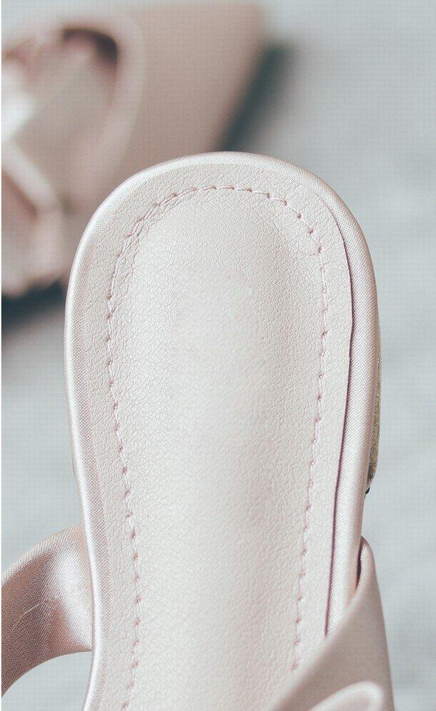 DIDIDD Slipper Slipper Slipper Sommer Tragen Roman Spitz Bogen Baotou Muller Schuhe Fee Flache Schuhe Nackt 37 105201