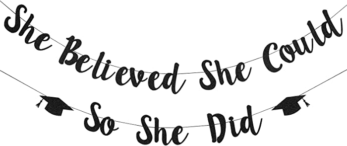 Girls 2021 Graduation Banner Decorations, Black She Believed She Could So She Did Banner for Girls Graduation Decorations 2021,Congrats Grad Party Decor