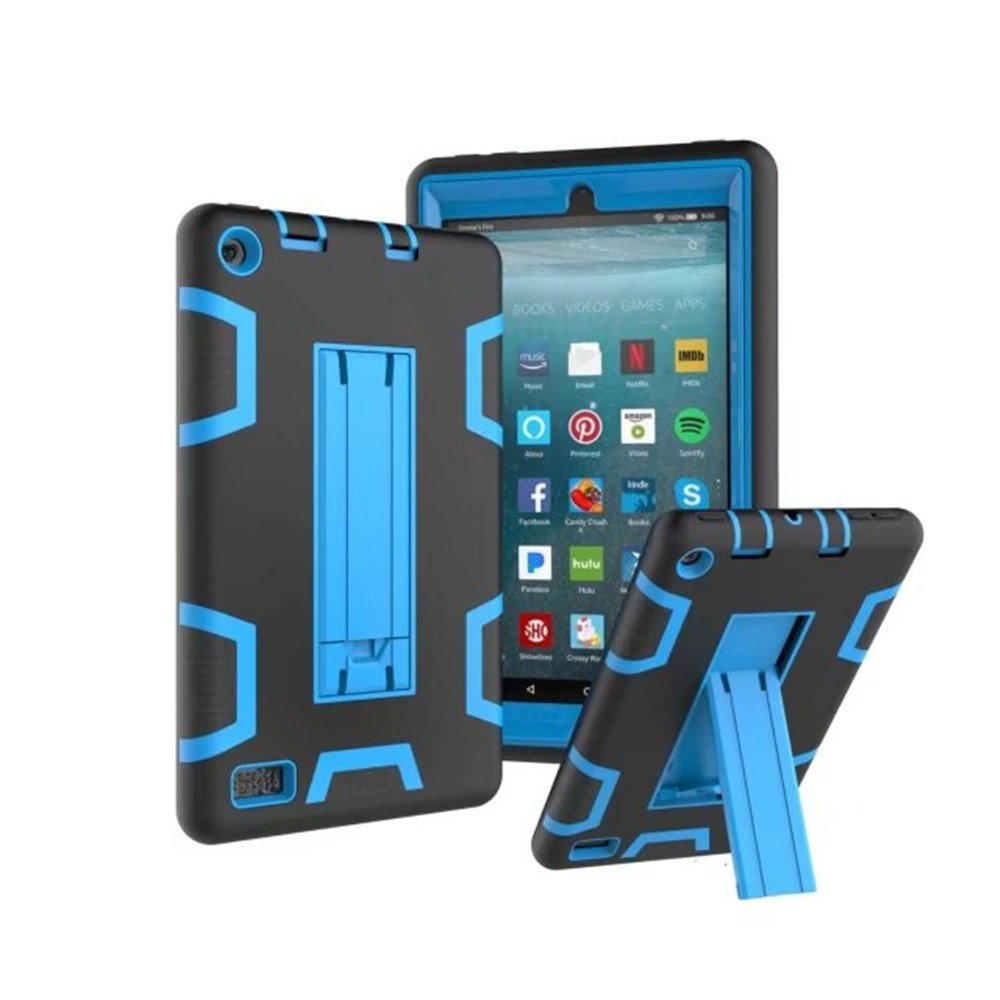 MoreToys Case for Amazon Kindle Fire 7, Three Layer Hybrid Rugged Shockproof Anti-Slip Protective Cover (Previous 7th Generation - 2017 Release ONLY) (F)