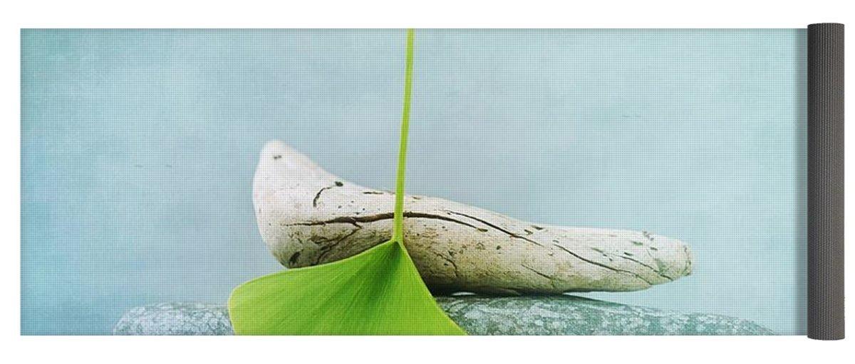Pixels Yoga Mat w/ Bag ''Driftwood Stones And A Gingko Leaf''