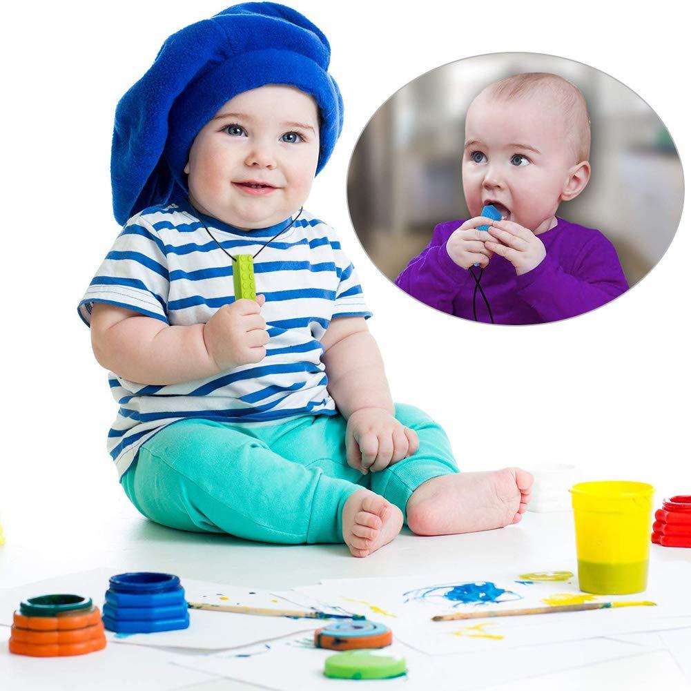 vert BESLIME Collier /à m/âcher violet) 4 pcs Pendentif /à m/âcher pour autisme//TDAH//B/éb/és qui font des dents//Moteur sensoriel//Oral (Rouge jaune