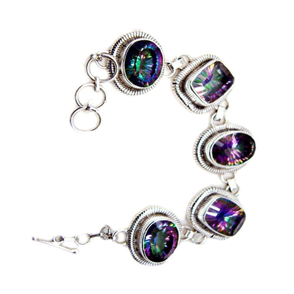 Classy Mystic Quartz CZ Sterling Silver Bracelet Link Style Mixed Cut Handmade Jewelry For Men & Women