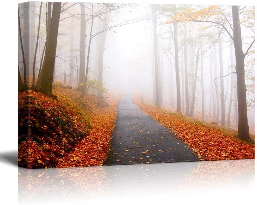 wall26 Canvas Wall Art - Quiet Lane in The Woods with Fallen Leaves in Autumn - Giclee Print Gallery Wrap Modern Home Art Ready to Hang - 16x24 inches