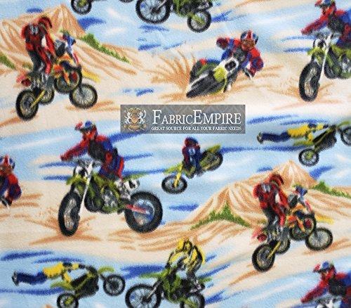 Fabric Empire Fleece Printed Fabric Motocross Blue Brown 58