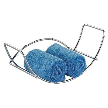 mDesign Soporte para toallas de mano, de pared; para almacenamiento en el cuarto de