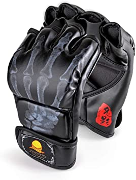 MMA Leather UFC Grappling Gloves Fight Training Half Finger Boxing Punch Mitts