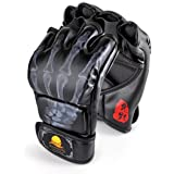 ZooBoo MMA Gloves, Half-Finger Boxing Fight Gloves MMA Mitts with Adjustable Wrist Band UFC Gloves for Sanda Sparring Punchin