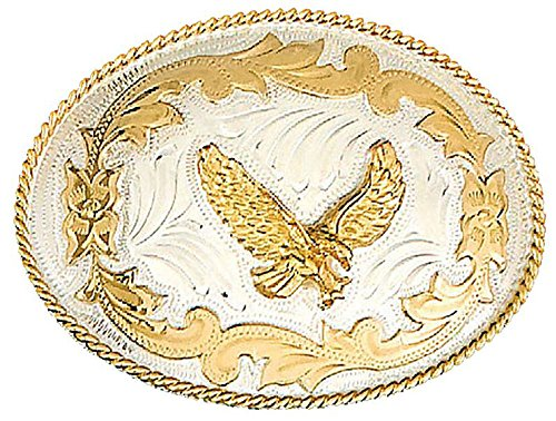 German Silver Tone Belt Buckle with Gold Toneen Eagle and Floral ()