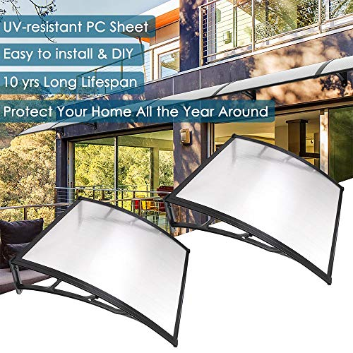 "Yescom 2 Sets 39""x39"" Outdoor Clear Door Window Awning Patio Cover Rain Protection One-Piece Polycarbonate Hollow Sheet"