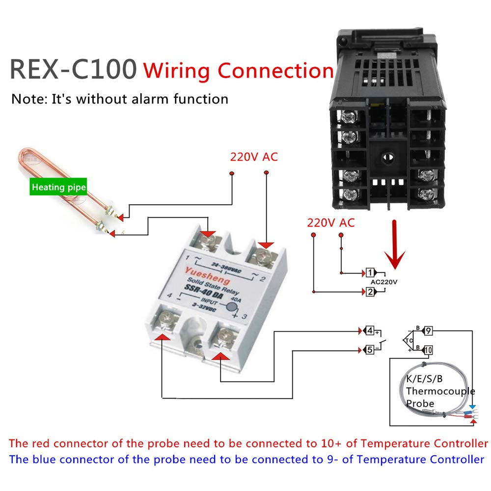 Temperature Controller Kkmoon Digital Lcd Pid Rex C100 K Type Thermocouple Circuit Diagram Set Max40a Ssr