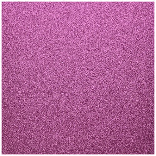 American Crafts Glitter Cardstock, 12 by 12-Inch, Raspberry (15 sheets per pack)