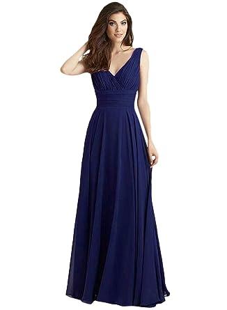 ASVOGUE Womens Open Cowl Back Deep V Prom Dress, Royal Blue L