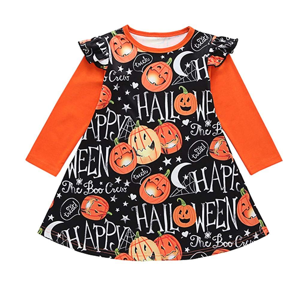 Vestito per Halloween in Cotone per Bambine Taoytou con Stampa di Zucca e Maniche Lunghe Scollo Rotondo