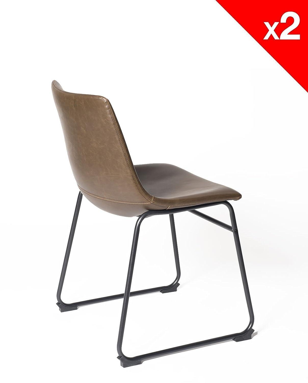 Industriel Gris KAYELLES Chaise de Cuisine Vintage Helio 47cm Lot de ...