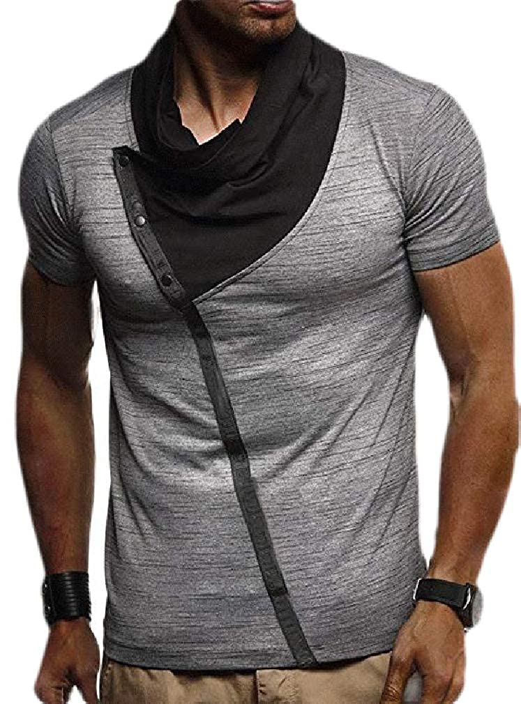 Sweatwater Mens Sport Contrast Color Cowl Neck Irregular Top Tee T-Shirts