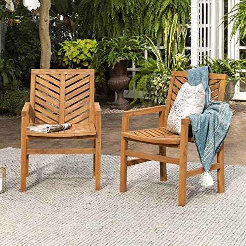 Walker Edison Furniture Company 2 Piece Outdoor Patio Chevron Wood Chair Set All Weather Backyard Conversation Garden Poolside Balcony