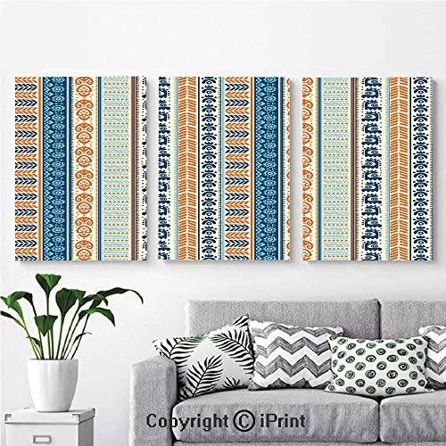 Canvas Prints Modern Art Framed Wall Mural Aztec Ancient Vintage Ethnic Pattern with Native American Folk Figures Artisan Art for Home Decor 3 Panels,Wall Decorations for Living Room Bedroom Dining American Folk Art Wallpaper
