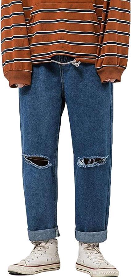 [Ksila]デニムパンツ メンズ ダメージ加工 ジーンズ ゆったり ストレートパンツ デニム 大きいサイズ ジーパン オシャレ ロング丈 Gパン ファッション 通学 ズボン デニム