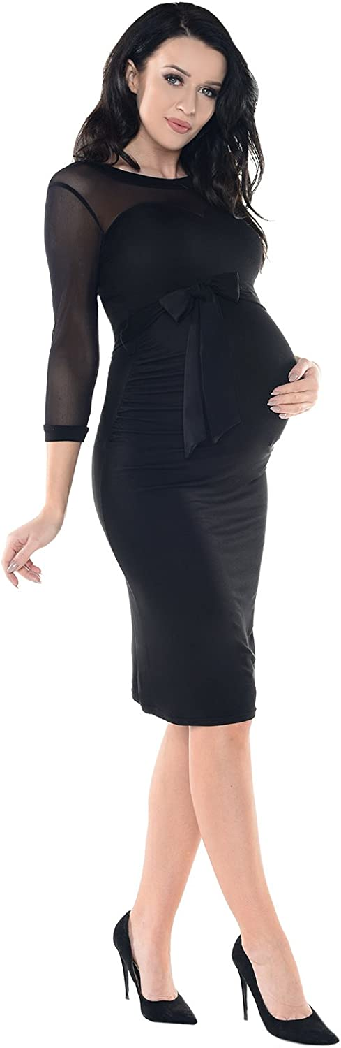 Purpless Maternity Ruched Bodycon Pregnancy Woman Dress with Sheer Mesh Panel D008