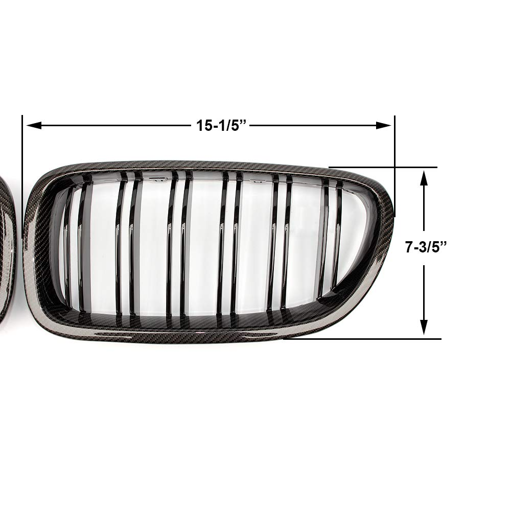SNA F10 Grille Front Kidney Grill for 2010-2016 BMW 5 Series F10 F11 And F10 M5 Single Slat Gloss Black Grill, 2-pc Set