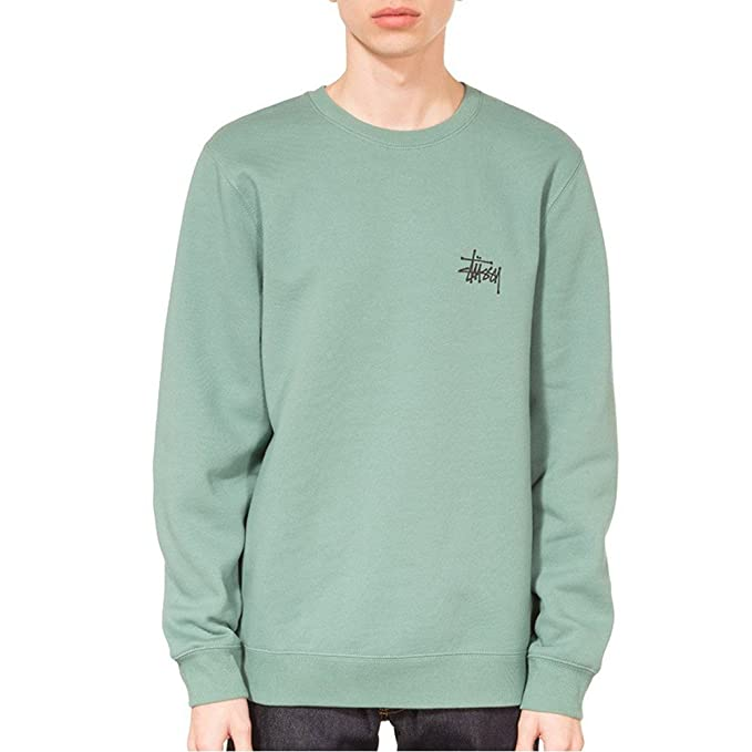 dd6746fc2e Stussy Felpa Basic Verde S (Small): Amazon.it: Abbigliamento