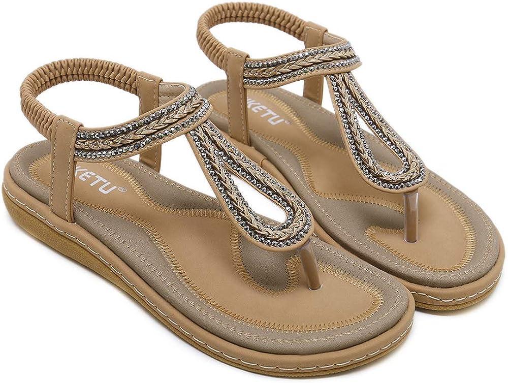 WENBER Womens Bohemia Flat Sandals Summer Beach Thongs Flip Flop