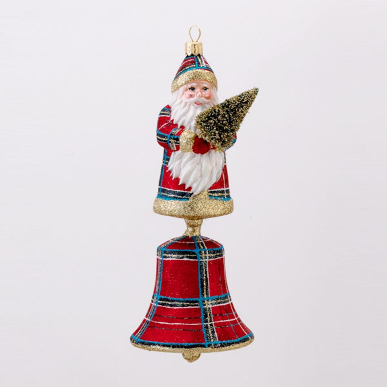 KSA 8'' David Strand Designs Glass Santa Bell Stewart Plaid Christmas Ornament