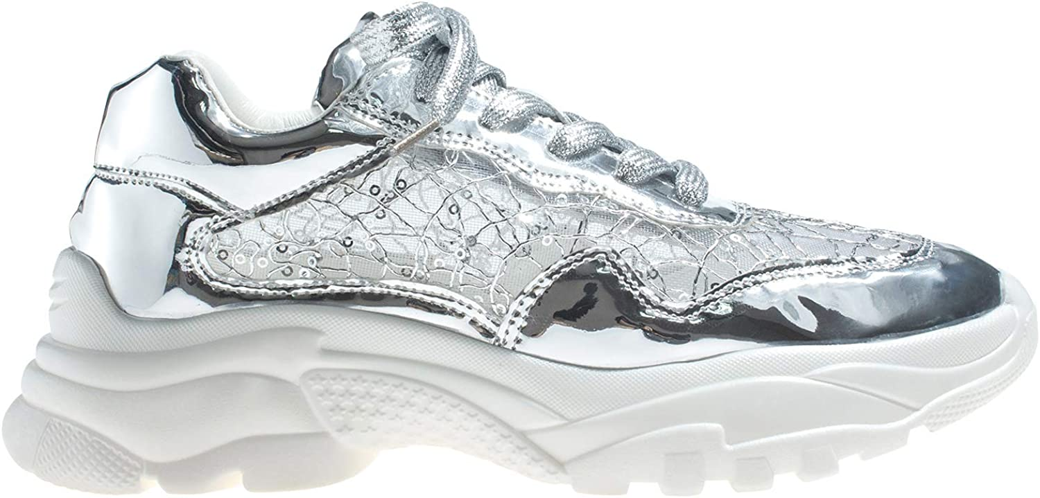 AnnaKastle Womens Glitter Fashion Low Top Sneaker Trainer
