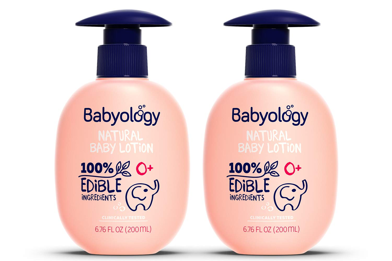 Babyology - 100% Edible Ingredients - Organic Baby Lotion - Clinically Tested - 6,67 FL. OZ - Calming & Rich Moisture for Sensitive Skin - Daily Care - Non-scented - Perfect Baby Shower Gift (2 Pack) by Babyology