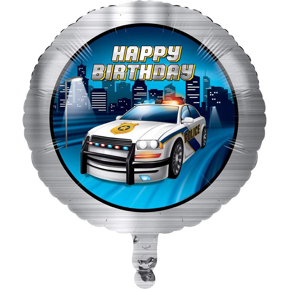 Club Pack of 10 Gray and Dark Blue Police Car Theme Metallic Balloon 8''