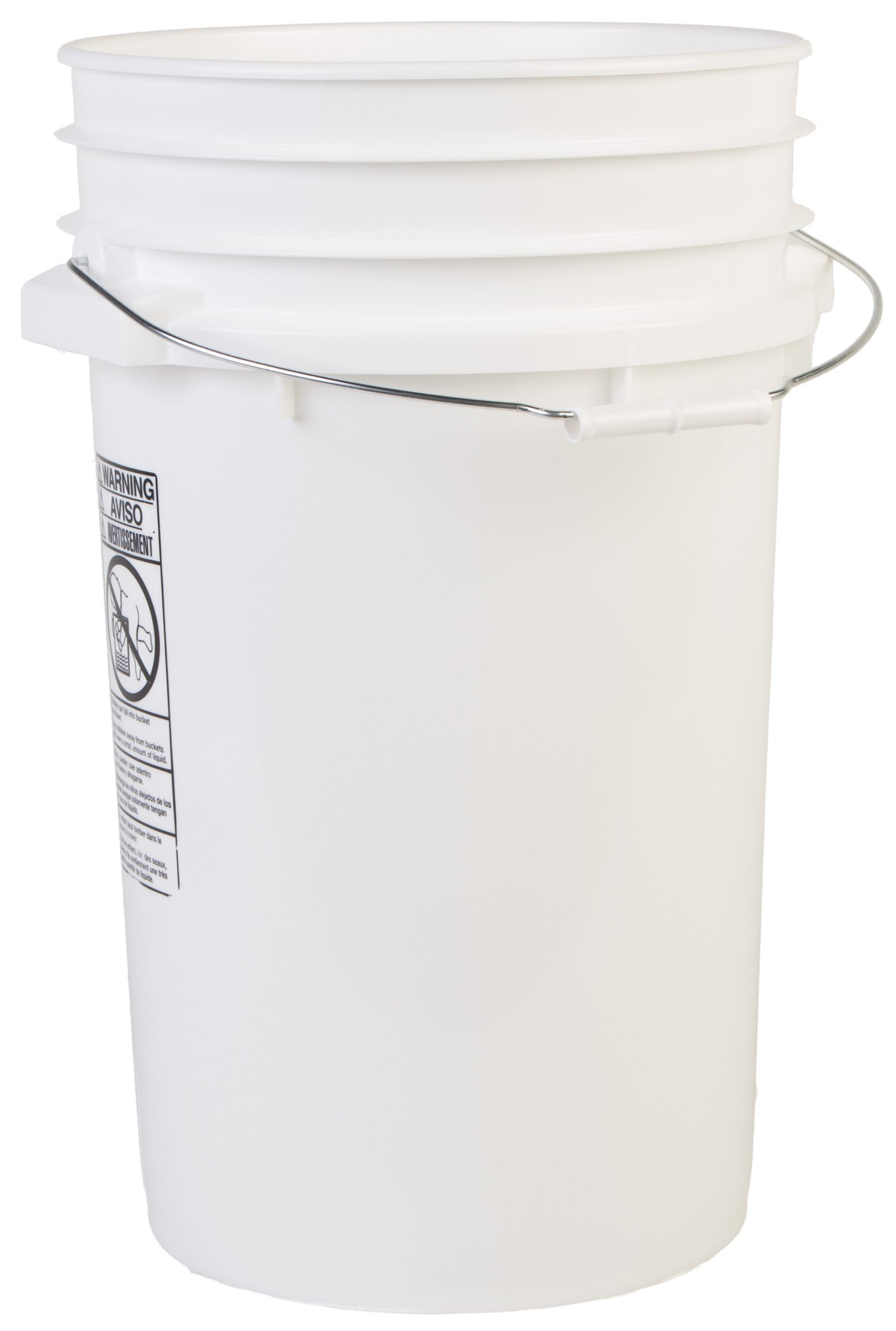 Hudson Exchange Premium 100 Mil HDPE Bucket with Handle, 7 gal, White, Pack of 8
