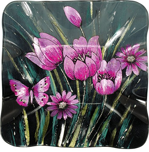 """Angelstar 19582 Enchanting Tulips 10"""" Square Plate, Pink"""
