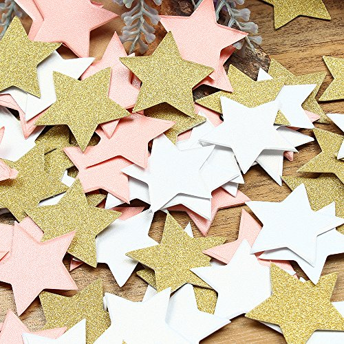(ZOOYOO Glitter Paper Confetti Star, Wedding Party Decor and Table Decor,Star confetti Glitter Paper Confetti, DIY Kits,400pcs,star Dots (Pink,white,Gold))